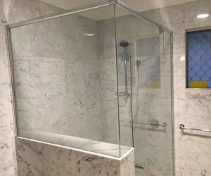 Mirage-Semi-Frameless-Pivot-2sided-shower-screen-over-half-wall-1